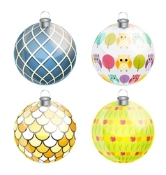 New Year and Christmas Balls Set vector image