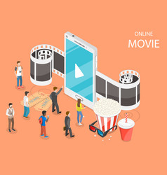 Online movie flat isometric concept vector