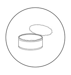 Opened metal tin can icon in outline style vector
