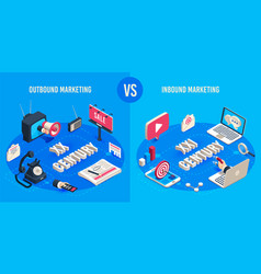 outbound and inbound marketing isometric market vector image