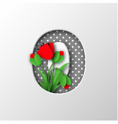 paper cut number 0 with poppy flowers vector image