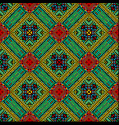 patchwork seamless pattern with ethnic motifs vector image