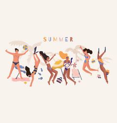 People beach banner happy friend on summer vector