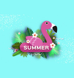 pink flamingo float tropical summer daysummer vector image