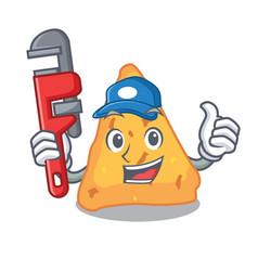 Plumber nachos mascot cartoon style vector