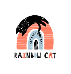 rainbow cat funny print for kids scandinavian vector image