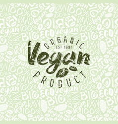 Raw vegan seamless pattern and emblem vector