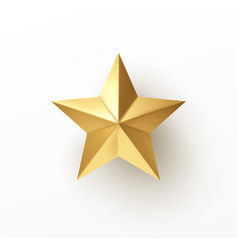 Realistic 3d golden star isolated on white vector