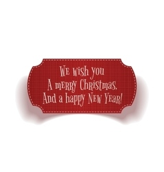 Realistic vintage Christmas red greeting Label vector image