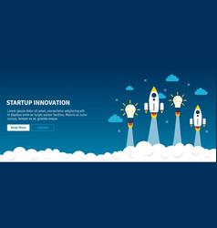Rocket and lamp launch startup innovation vector