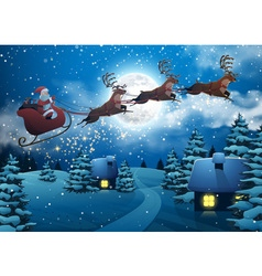 Santa Claus Flying on a Sleigh with Deer House vector