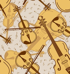 Seamless pattern of contrabass and violin vector image