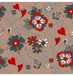 Seamless Vintage pattern with flowers for vector