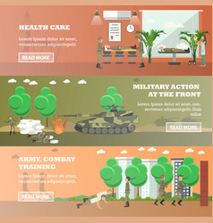 set military horizontal banners in flat vector image