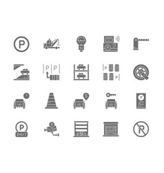 Set of car parking grey icons tow truck car vector