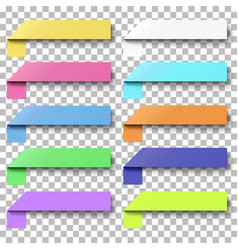 set of color sticky notes with peel off corners vector image