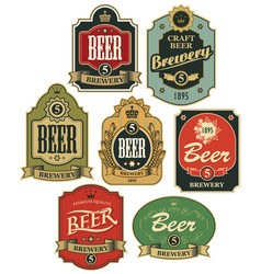 set seven beer labels in retro style vector image