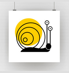 silhouette of cartoon snail with eyes vector image