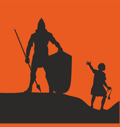 Silhouette of david and goliath vector