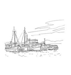 sketch european croatia ships vacation cruise vector image