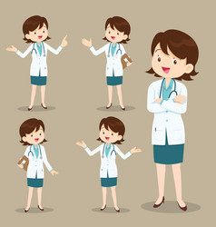 Smart woman doctor presenting in various action vector