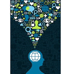 Social media brain communication splash vector image