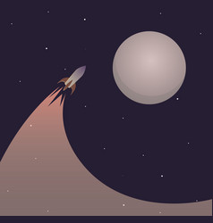 space rocket with a trace flying to the moon vector image