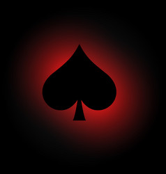 Spades symbol on dark background with red light vector