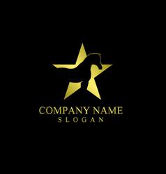 Star horse logo on black background vector