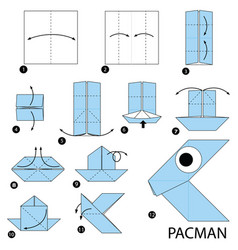 Step instructions how to make origami a pacman vector