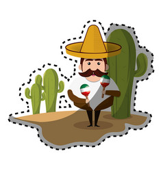 sticker background cactus with man mexican and vector image