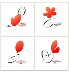 Stylish calligraphic Valentines day greeting cards vector
