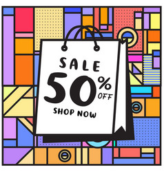 Summer and autumn sale memphis style web banner vector