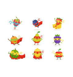 superhero fruits in masks and capes set of cute vector image