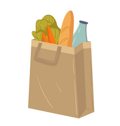 Supermarket food in paper package or fabric bag vector