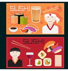 Sushi posters with chefs vector