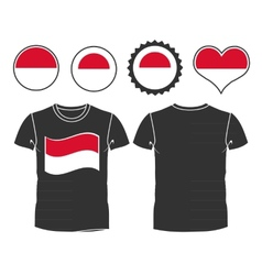 T-shirt with the flag of Monaco vector