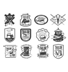 tailor shop and seamstress service retro icons set vector image