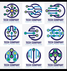 Tech logo design template vector