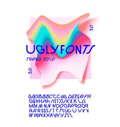 ugly fonts minimal modern alphabet fonts vector image