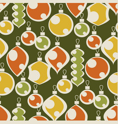 Vintage colors seamless pattern xmas baubles vector