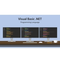 Visual Basic NET programming vector image