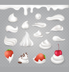 Whipped cream with sweet fruits and dark chocolate vector