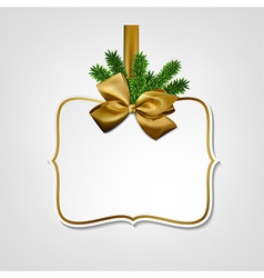 White paper gift card with golden satin bow vector
