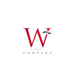 White red alphabet letter w logo company icon vector