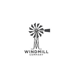 Windmill logo design template vector