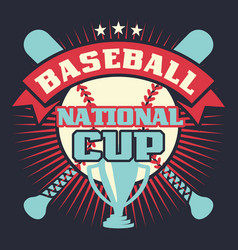 baseball vintage poster with cup stars vector image