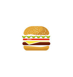 burger icon isolated flat cartoon sandwich vector image vector image