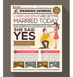 Newspaper Style Wedding Invitation Design Template