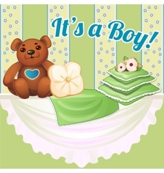 Decor baby cot with pillows and soft bear vector image vector image